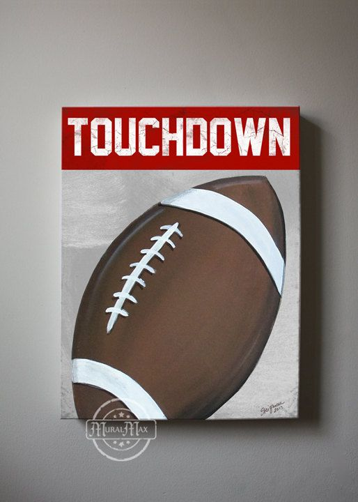 Football Canvas Art, Sports Nursery Canvas Art , Sports Nursery Decor,   Boys Room  Sports Art  Extra Large  20x24 on Etsy, $105.00
