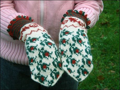 Garn Boet - The Yarn Nest: The Rosebud mittens - pattern and descriptions