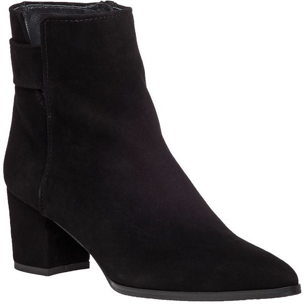 STUART WEITZMAN Banjosvelt Black Suede Boot ($498) ❤ liked on Polyvore featuring shoes, boots, ankle booties, ankle boots, black suede, short black boots, black booties, suede booties and pointed toe ankle boots