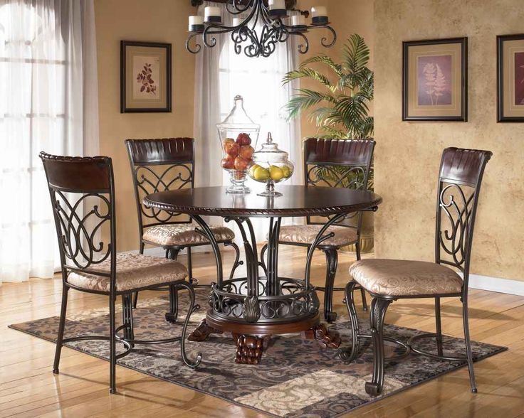 Dining Room Vintage Wooden Brown Round Table Set With Chairs And Rug