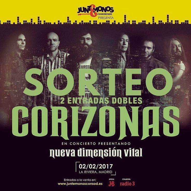 SORTEO EXPRESS. Quieres una entrada doble para ver a Corizonas el próximo día 02/02 en La Riviera ? Muy fácil solo tienes que seguirnos seguir a @juntemonosconsod  y etiquetar con que amigo te gustaría ir... Mañana a las 1100 h se terminara el Sorteo los dos ganadores se conocerán  a las 12.00h #sorteo #corizonas #juntemonos #todoindie #music #festival #conciertos #Madrid