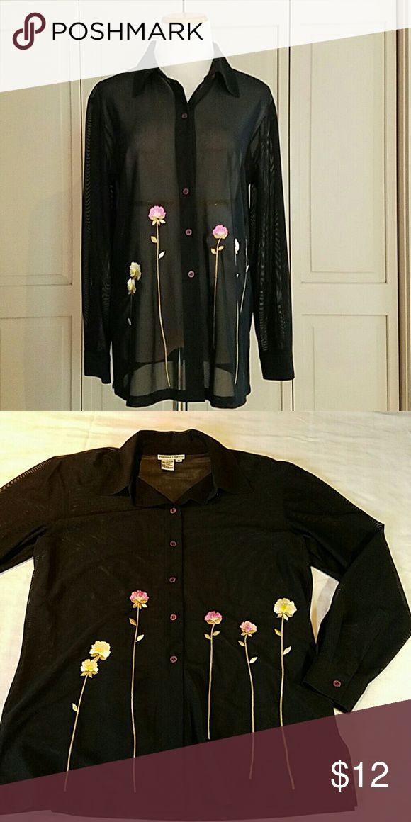 Sheer Black Button Down Top Black Sheer Button Down Shirt with interesting embroidered flowers Barbara Graffeo Tops