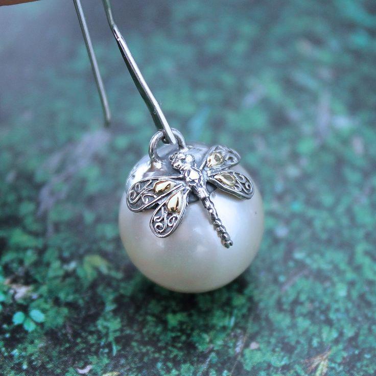 Phillip Gavriel 18k Yellow Gold & Sterling Silver Dragonfly Large Pearl Drop Earrings