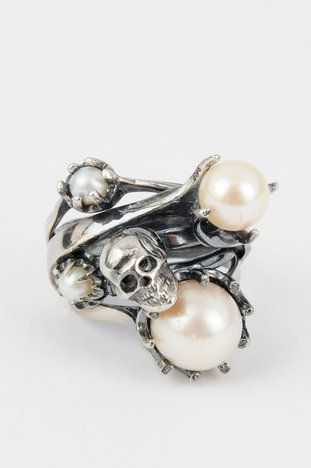 Iosselliani Skull and Mixed Pearl Stack Ring $199 at www.tobi.com <3