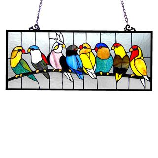 Birds Design Art Glass Window Panel with Bronze Finish - Overstock™ Shopping - Great Deals on Stained Glass Panels