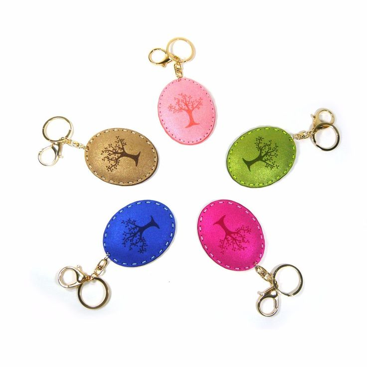Mirror Key Chain Ring Holder Glitter Faux Suede Tree Print Bag Charm Accessory  #Jacc