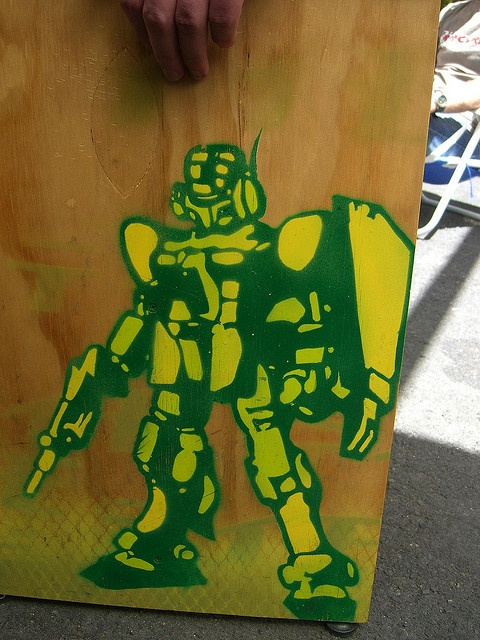 Robot stencil on chair - Section 8 Container Bar by avlxyz, via Flickr