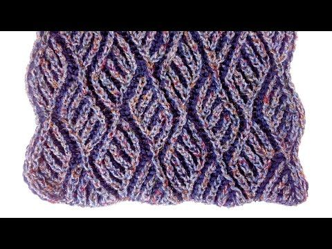Узор для шарфа- бриошь -Brioche knitting scarf ( теплый,двухсторонний шарф) - YouTube