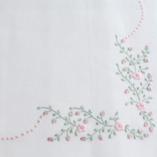 Pure line hand embroidered single bed sheet - size 180x290cm - Cod. B0012
