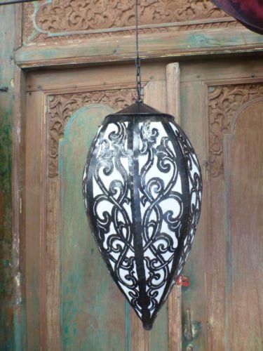 Balinese Ceiling Lamp Shade Lantern Light Fitting Metal & Fabric Antique 60cm