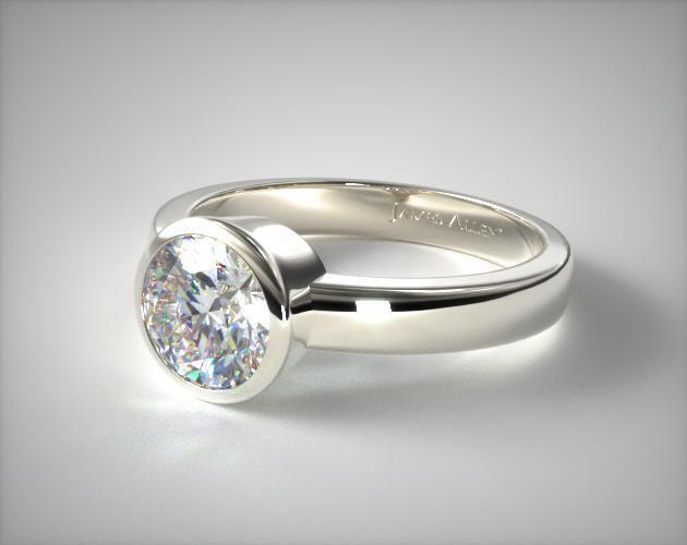 14k White Gold Bezel Set Round Shaped Diamond Solitaire Ring | 11111W14 - Mobile