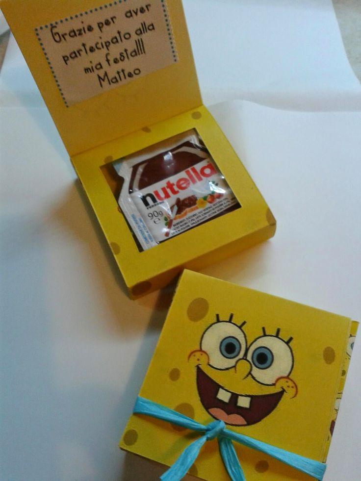 Scatoline di Spongebob fatte a mano con la nutella all'interno come regalino di ringraziamento per una festa di bambini
