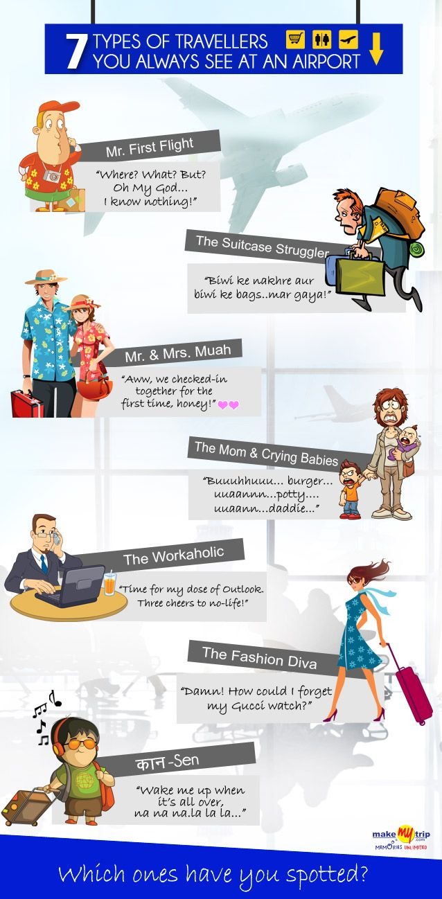 Check out 7 Types Of Travellers You Always Spot At An Airport. Are you one of them? #travel #ideas #infographic