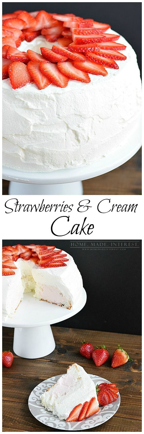 A light and airy angel food cake recipe filled with strawberry whipped cream, frosted with whipped cream, and topped with fresh strawberries.