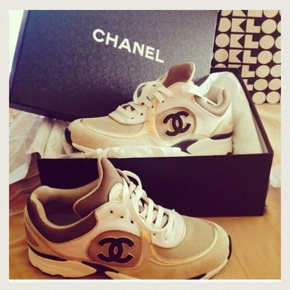 SOLD on EBay Brand New 2013 Chanel Tennis Sneakers Brand New Authentic Tan , Gold , White & Black Chanel sneakers ! Still in stores . Make a reasonable Offer .. CHANEL Shoes Sneakers