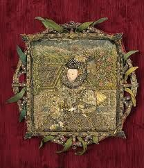 Rare English portrait in needlework depicting Queen Elizabeth I, from about 1580.