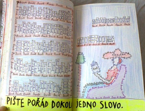 """Psát stále dokola jedno slovo? Zvolila jsem """"BOOK"""" a vytvořila tento výjev.  Ano, jsem knižní magor! :-D"""