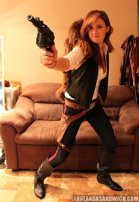 Han Solo costume…. done!  I made the vest, holster/belt, and pant stripes.