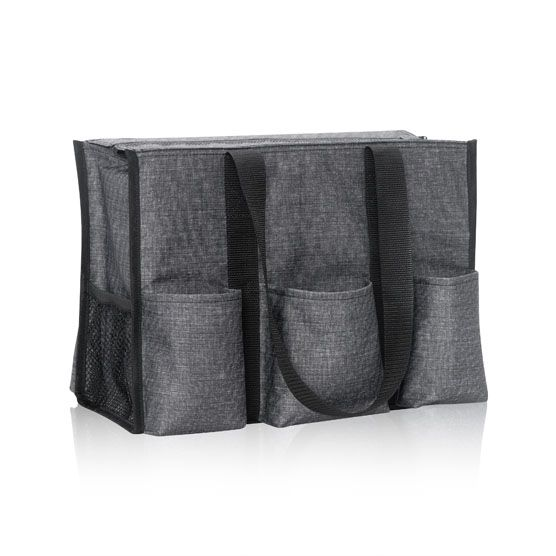 "Zip-Top Organizing Utility Tote (ZOUT) in Charcoal Crosshatch  Shop www.jackiesbags.com  The same size as our classic Organizing Utility Tote, with seven pockets for all your essentials, plus a convenient zipper to keep everything safe and secure! Approx. 10.75""H x 14.5""L x 6.5""D"