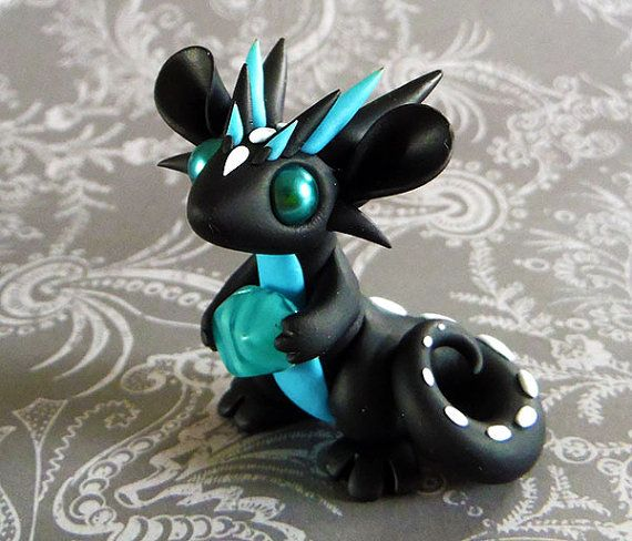 Black and Turquoise Scrap Dragon by DragonsAndBeasties on Etsy