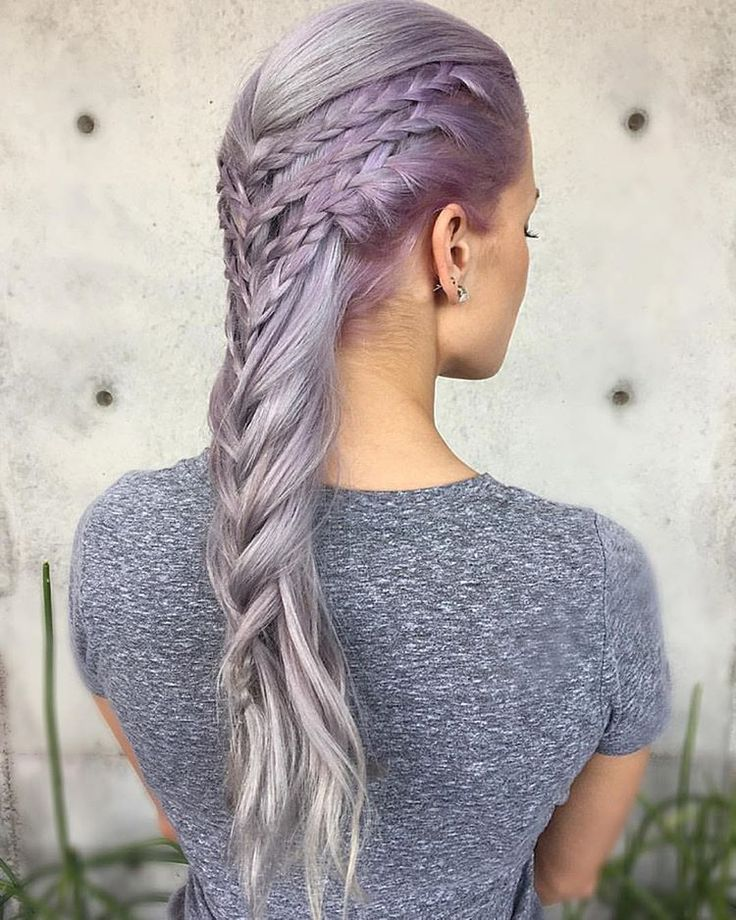 Gorgeous lavender hair color by @jaywesleyolson Game of Thrones braided style by @tannerjohnson34 #hotonbeauty