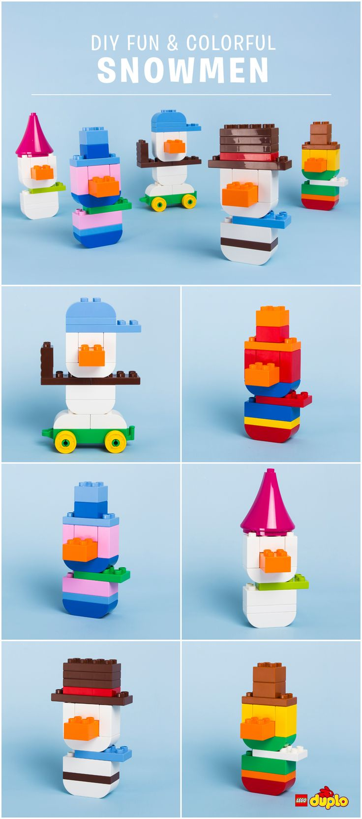 To every one of our favorite LEGO DUPLO fans, big and small: Thank YOU for making 2015 even more creative and extraordinary than we ever imagined! Wishing you happy building – and Happy Holidays!   Find out here how to build these cute snowmen: http://www.lego.com/en-us/family/articles/colorful-snowmen-05d005c51792405281d7255259d0e97a