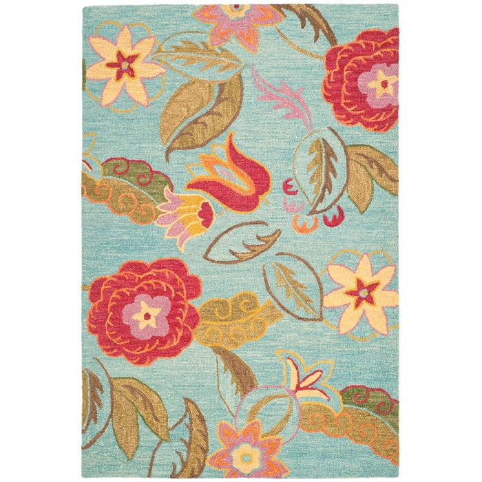 Rug: Area Rugs, Color, Blue, Living Room, Safavieh Blossom, Wool Rugs, Blossoms