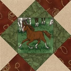 Nibble n Run Horses Quilt Blocks Kit.  Cowboy, Cowgirl, Horse, Horses, Western