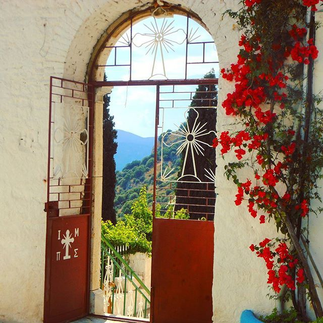 """""""Look on every exit as being an entrance somewhere else"""" - T.Stoppard  Spiliani Monastery, #Pythagorion #Samos  #quotes #travel #quoteoftheday #door #religion #flowerstagram #flowermagic #flower #beauty #monastery #greekislands #greece #europe"""