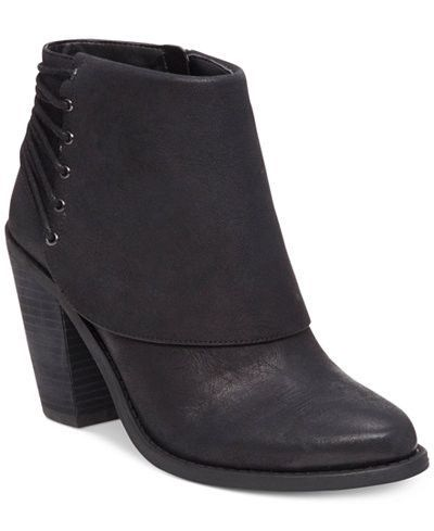 Jessica Simpson Black Caysy Lace Back Ankle Boots Booties Size 9