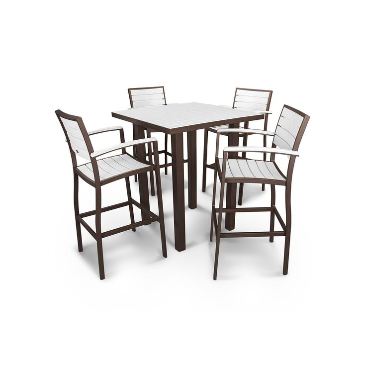 Polywood® Euro 5-piece Outdoor Bar Table Set, Brown Oth