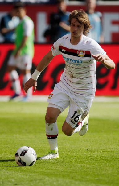 Tin Jedvaj of Leverkusen in action during the Bundesliga match between FC Ingolstadt 04 and Bayer 04 Leverkusen at Audi Sportpark on May 6, 2017 in Ingolstadt, Germany.