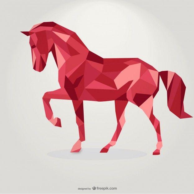 Poligonale cavallo rosso disegno del triangolo geometrico Vettore gratuito