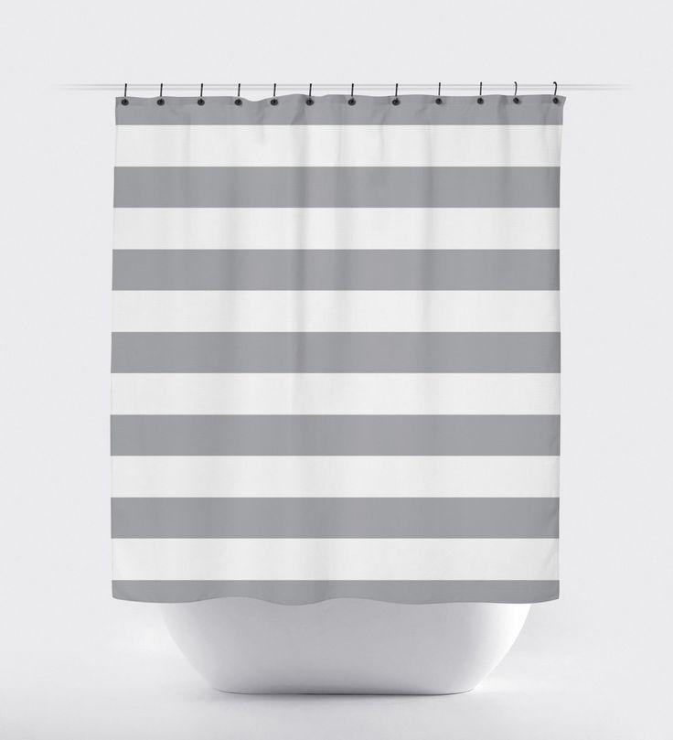 gray white stripe shower curtain, modern shower curtain, fabric shower curtain,  chevron shower curtain, waterproof by PrintArtShoppe on Etsy https://www.etsy.com/listing/227512063/gray-white-stripe-shower-curtain-modern