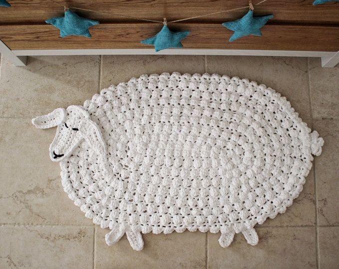 Crochet animal rug, baby room rug, nursery rug, animal rug, lamb rug, made in Italy by an awesome Etsy shop!