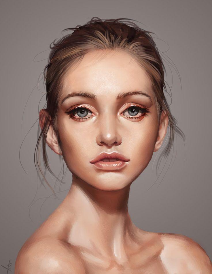 """A beautiful face"" - Victor Lozada {figurative art female head shoulders woman portrait digital painting #loveart} victter-le-fou.deviantart.com"