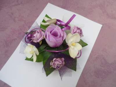 Centre de table - parme ivoire et violet - 16cm