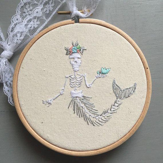 Memento Mori Mermaid Skeleton Embroidery by xxoblinaxx on Etsy