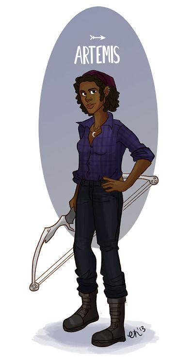 Modern Day Olympic Pantheon Artemis- She's a young hunter who prefers a bow and arrow to a shotgun. This lady is fierce and independent, but also kindhearted and loving. On weekends she mentors young girls at the local Boys and Girls Club. Check out the others! Hermes, Hera, Zeus, Ares, Aphroditeand Athena!
