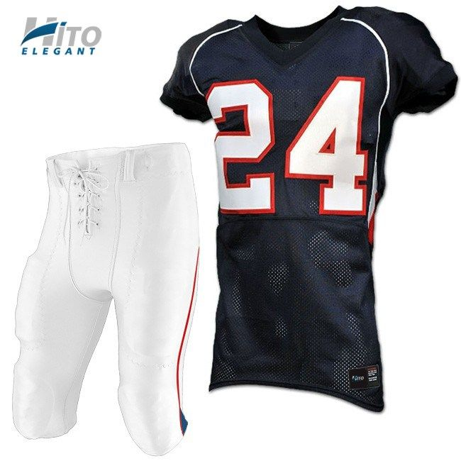 Custom Football Uniforms are cut and sewn to order allowing you to design your Football Uniforms any way you like. We allow you to make team uniforms that are truly unique. Our Football Uniforms are truly NFL quality. They feature Tackle-Twill (sewn) lettering and numbering. We can customize any of these uniform styles to your specifications. You can choose your fabrics, colors, trims, panels, lettering, numbering and embroidery.