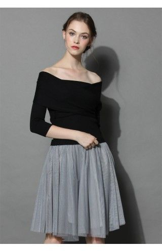 Wrap in Grace Off-shoulder Tulle Dress in Black - Tulle Skirt - Trend and Style - Retro, Indie and Unique Fashion
