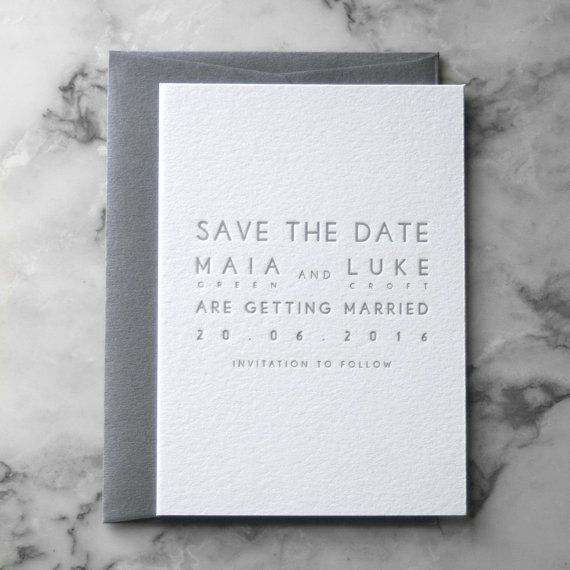 Letterpress Modern Save the Date (50 Pieces)