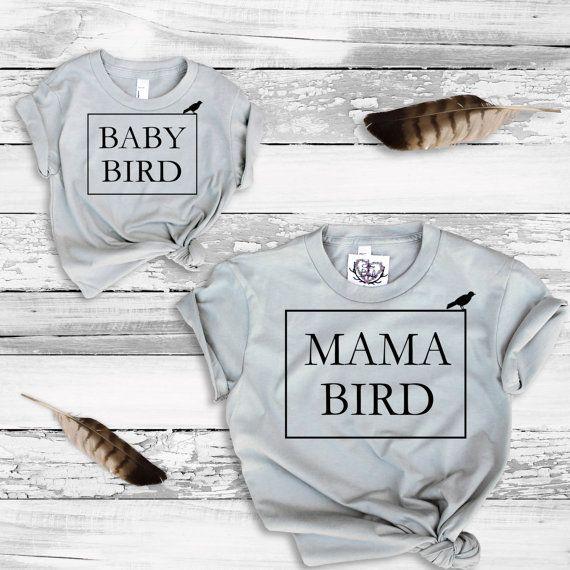 Mommy and Me T Shirt - Mama Bird - Baby Bird - Tee Shirt Children's - Mothers Day Gift - Kids & Baby Tumblr Trendy Kids - Graphic Tee