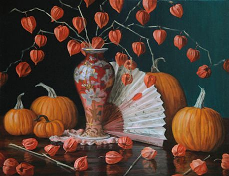 Christopher Pierce, Chinese Lanterns with Fan and Pumpkins, oil on canvas, 24 X 30 inches