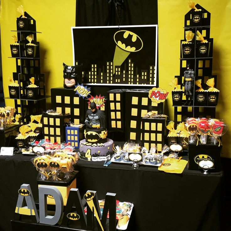 Batman theme dessert table styled by Glam Candy Buffets!