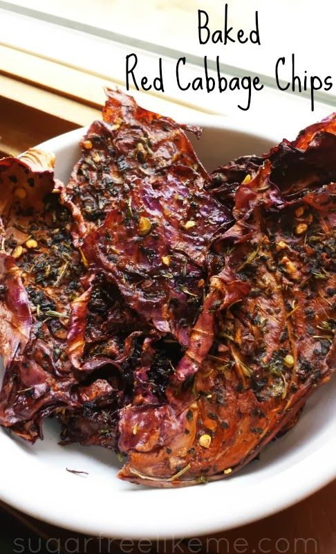 Baked Red Cabbage Chips-these are so good with salt, pepper, garlic powder and some crushed red pepper flakes. Judy