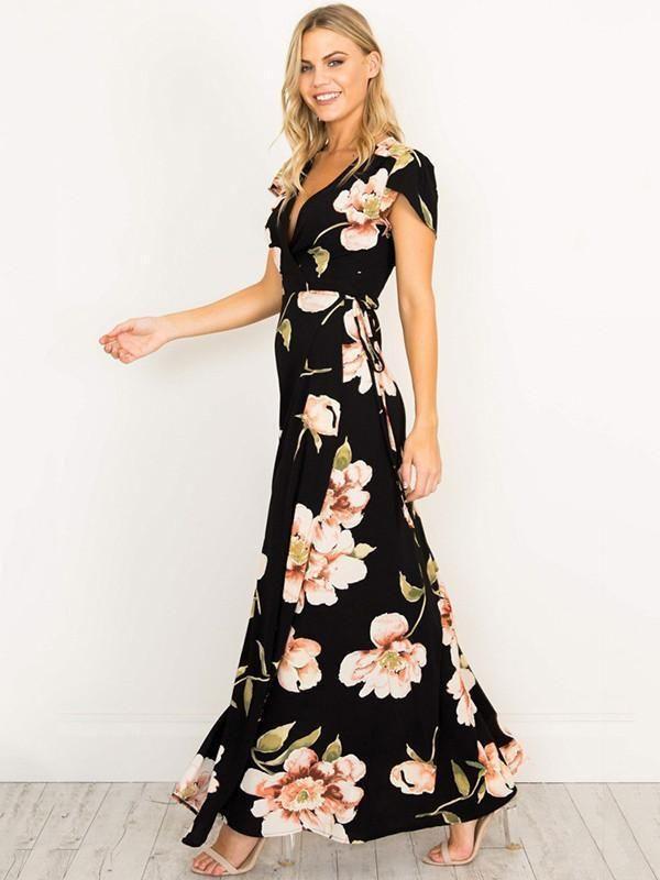 eda839ae9252 Pretty Sexy Floral-Print Short Sleeve Deep V Neck Side Split Maxi Dress