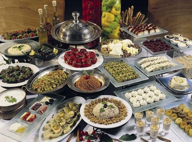 Turkish food: 1) Mezeler - Appetizers 2) Dolmalar -Stuffed vegetables 3) Çorbalar -Soups 4) Salatalar -Salads 5) Baklagiller -Legumes 6) Zeytinyağlı Sebzeler -cold dishes 7) Pilavlar -Rice pilafs 8) Etli Sebzeler -Vegetables with meat 9) Börekler -Stuffed pastries with meat, cheese or vegetables 10)Pideler -Flat bread with cheese, meat or vegetables 11)Kebaplar -kebaps 12)Balık ve Deniz Ürünleri -Fish and other seafood 13)Tatlılar -Desserts 14)İçecekler -Turkish coffee, Turkish tea, rakı…