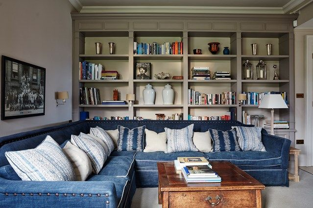 Grey Living Room With Blue Sofa Part 26