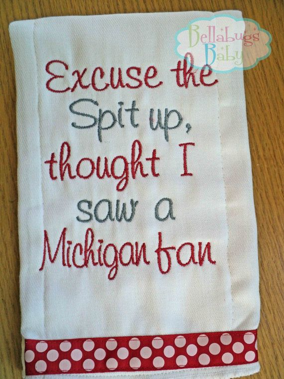 Excuse the Spit up - Ohio State or your favorite team Monogrammed Baby Burp Cloth - Football